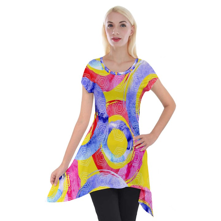Blue And Pink Dream Short Sleeve Side Drop Tunic