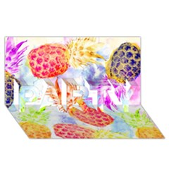 Colorful Pineapples Over A Blue Background Party 3d Greeting Card (8x4)