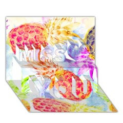 Colorful Pineapples Over A Blue Background Miss You 3D Greeting Card (7x5)