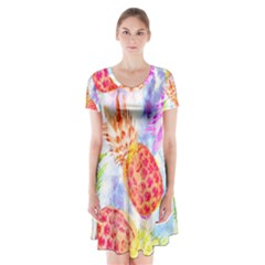 Colorful Pineapples Over A Blue Background Short Sleeve V Neck Flare Dress