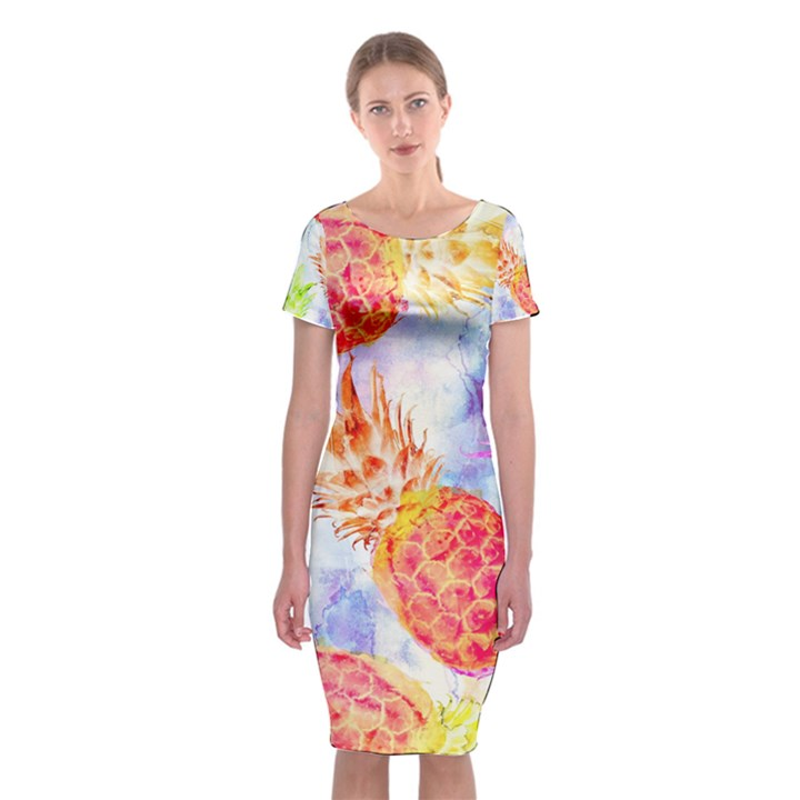 Colorful Pineapples Over A Blue Background Classic Short Sleeve Midi Dress