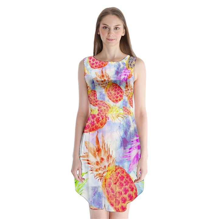Colorful Pineapples Over A Blue Background Sleeveless Chiffon Dress