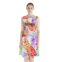 Colorful Pineapples Over A Blue Background Sleeveless Chiffon Waist Tie Dress