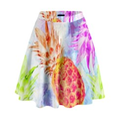 Colorful Pineapples Over A Blue Background High Waist Skirt