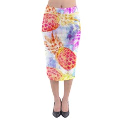 Colorful Pineapples Over A Blue Background Midi Pencil Skirt