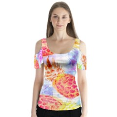 Colorful Pineapples Over A Blue Background Butterfly Sleeve Cutout Tee