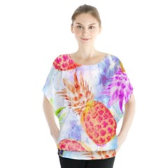 Colorful Pineapples Over A Blue Background Blouse