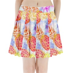 Colorful Pineapples Over A Blue Background Pleated Mini Skirt