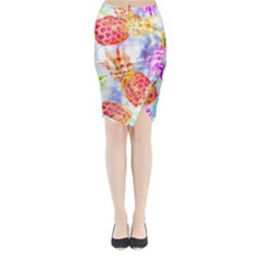 Colorful Pineapples Over A Blue Background Midi Wrap Pencil Skirt