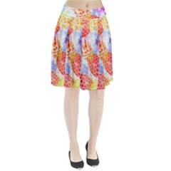 Colorful Pineapples Over A Blue Background Pleated Skirt