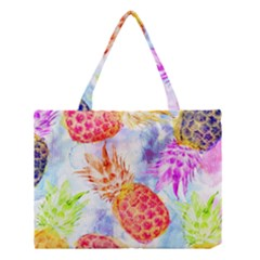Colorful Pineapples Over A Blue Background Medium Tote Bag