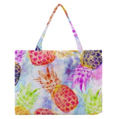 Colorful Pineapples Over A Blue Background Medium Zipper Tote Bag