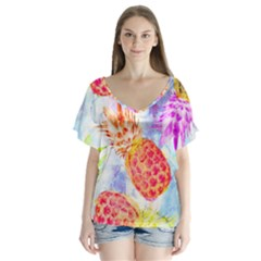 Colorful Pineapples Over A Blue Background Flutter Sleeve Top