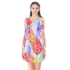 Colorful Pineapples Over A Blue Background Flare Dress