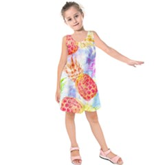 Colorful Pineapples Over A Blue Background Kids  Sleeveless Dress