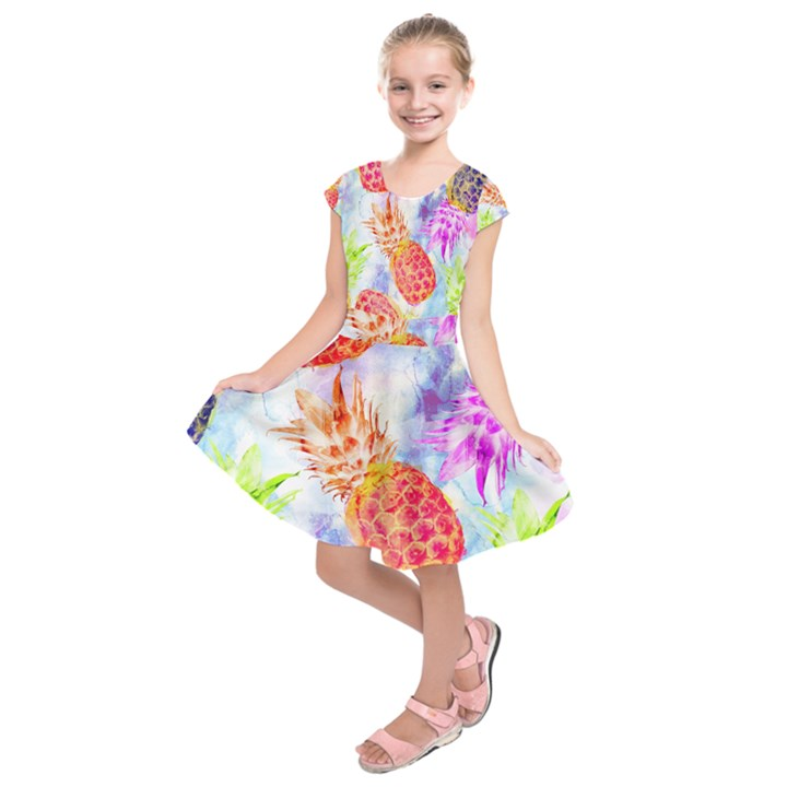 Colorful Pineapples Over A Blue Background Kids  Short Sleeve Dress