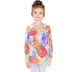 Colorful Pineapples Over A Blue Background Kids  Long Sleeve Tee