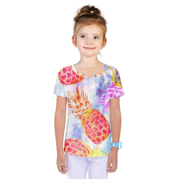 Colorful Pineapples Over A Blue Background Kids  One Piece Tee