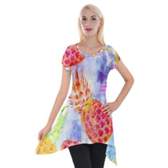 Colorful Pineapples Over A Blue Background Short Sleeve Side Drop Tunic