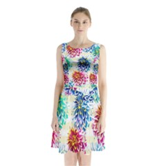 Colorful Dahlias Sleeveless Chiffon Waist Tie Dress