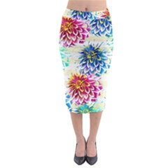 Colorful Dahlias Midi Pencil Skirt