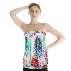 Colorful Dahlias Strapless Top