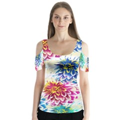 Colorful Dahlias Butterfly Sleeve Cutout Tee
