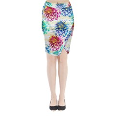 Colorful Dahlias Midi Wrap Pencil Skirt