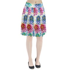 Colorful Dahlias Pleated Skirt