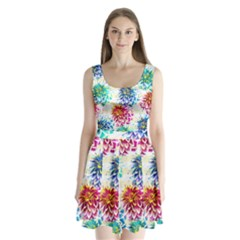 Colorful Dahlias Split Back Mini Dress