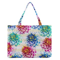 Colorful Dahlias Medium Zipper Tote Bag