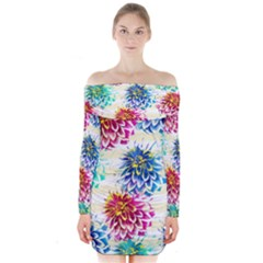 Colorful Dahlias Long Sleeve Off Shoulder Dress