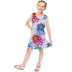 Colorful Dahlias Kids  Tunic Dress
