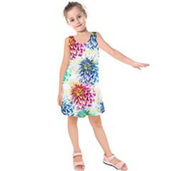 Colorful Dahlias Kids  Sleeveless Dress
