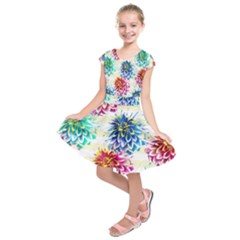 Colorful Dahlias Kids  Short Sleeve Dress