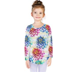 Colorful Dahlias Kids  Long Sleeve Tee