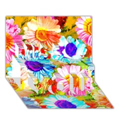 Colorful Daisy Garden Miss You 3d Greeting Card (7x5)