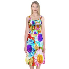 Colorful Daisy Garden Midi Sleeveless Dress