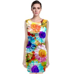 Colorful Daisy Garden Classic Sleeveless Midi Dress