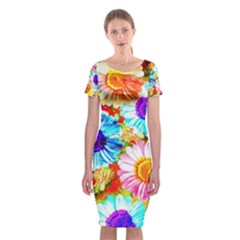 Colorful Daisy Garden Classic Short Sleeve Midi Dress