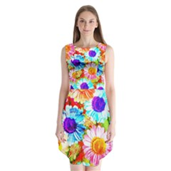 Colorful Daisy Garden Sleeveless Chiffon Dress