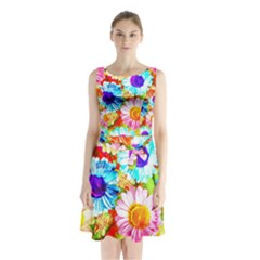 Colorful Daisy Garden Sleeveless Chiffon Waist Tie Dress