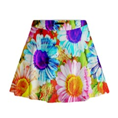 Colorful Daisy Garden Mini Flare Skirt