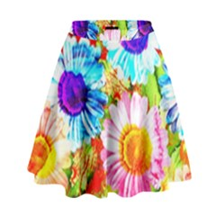 Colorful Daisy Garden High Waist Skirt