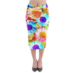 Colorful Daisy Garden Midi Pencil Skirt