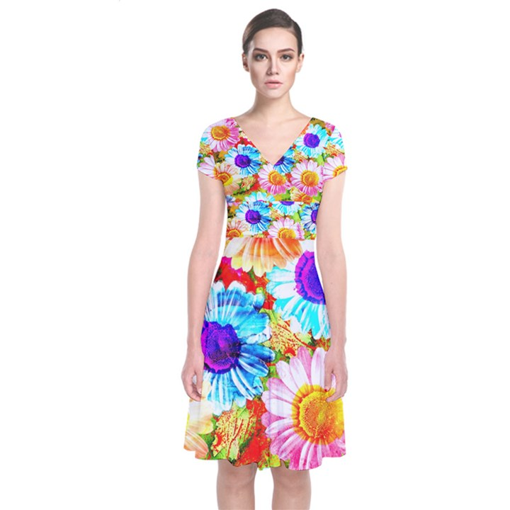 Colorful Daisy Garden Short Sleeve Front Wrap Dress