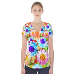 Colorful Daisy Garden Short Sleeve Front Detail Top