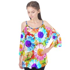 Colorful Daisy Garden Flutter Tees
