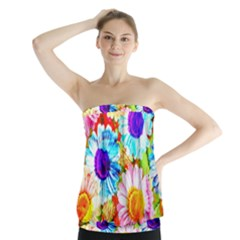 Colorful Daisy Garden Strapless Top