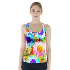 Colorful Daisy Garden Racer Back Sports Top